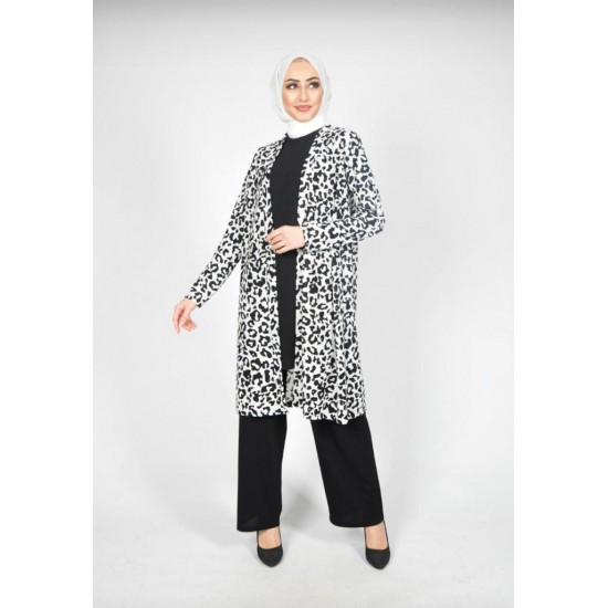 Long Tunik 3 pieces suit  black and Tiger Fabric